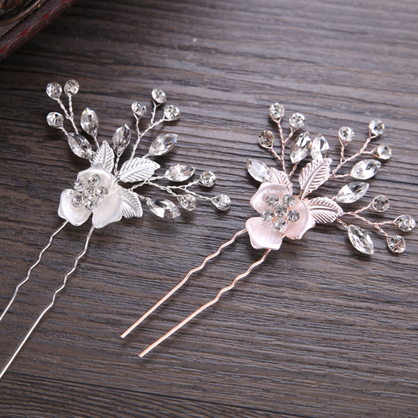 ashion Jewelry New Trendy Rose Gold Silver Hairpin Stick Bridal Hair Clips For Women Crystal Flower Wedding Hair Accessories Rhinestone...