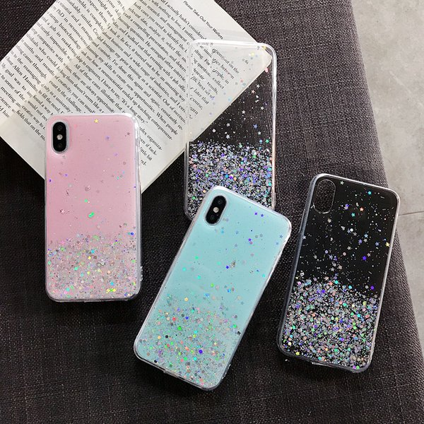 Biling Sequin Star Glitter Case For iPhone 6 6s 7 8 Plus Case For iPhone X Xs Max XR Gold foil Clear Cover Slim Soft Silicone