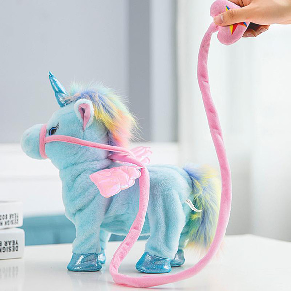 2018 New hot selling Leash unicorn plush doll can call walk twist the butt Stuffed Animals electric plush toys children's Christmas gifts