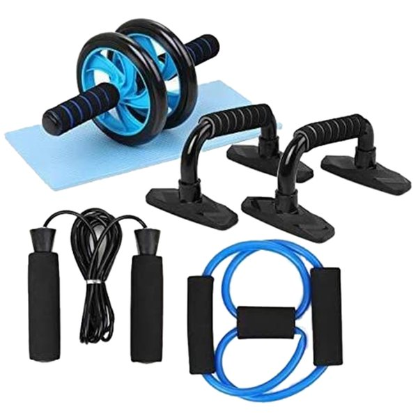 best selling BMDT-Spring Exerciser Abdominal Press Wheel Pro with Push-UP Bars Jump Rope and Knee Pad for Home Exercise Muscle Fitness