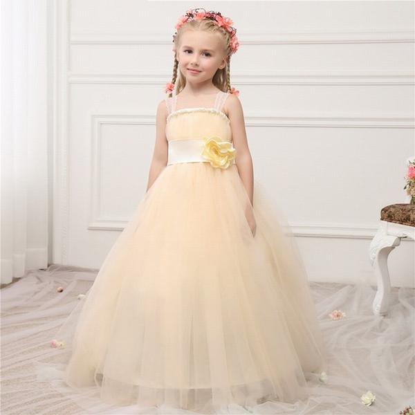 Şampanya Balo Çiçek Kız Elbise ile Çiçek Kanat Spagetti Sapanlar Kabarık Özel Bebek Elbiseleri Düğün için YTZ221