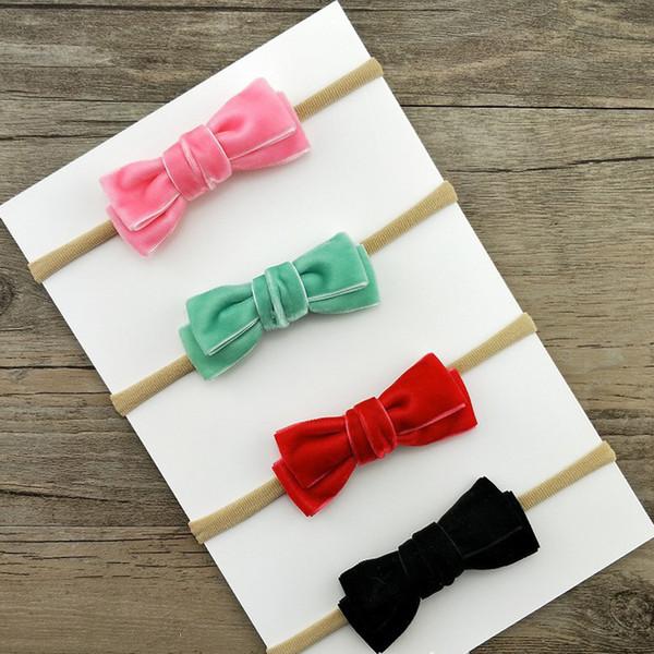 Venda de nylon del arco del terciopelo, accesorios 20pcs del pelo de las vendas del cumpleaños del arco del pelo del terciopelo