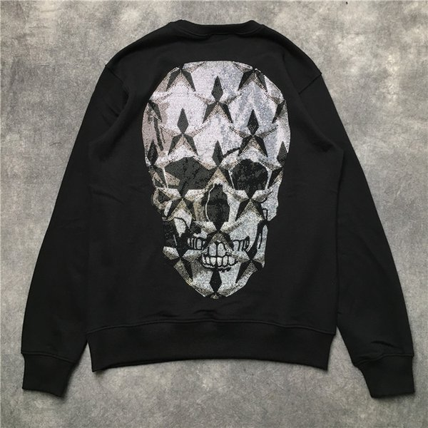 Neue Männer Diamant-Luxus-Schädel-Skelett Hoodies Hoody mit Kapuze Sweatshirts Samt Baumwolle Drake Dicke Fleece-Straße Hip-Hop-H00