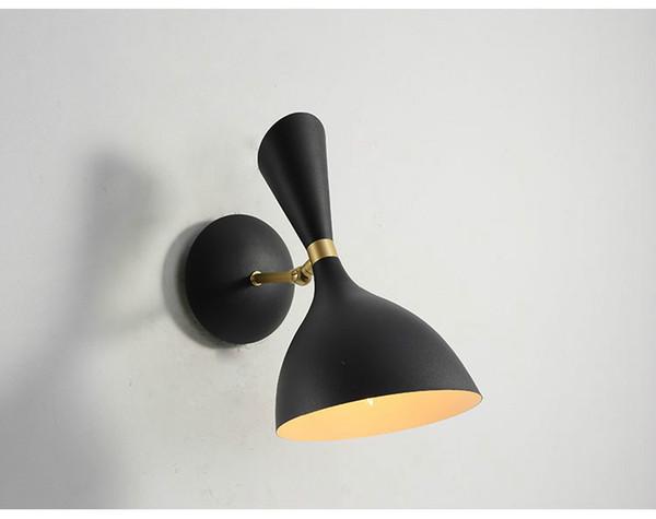 Acheter Abat Jour Blanc / Noir Led Intérieur Mur Lampe Salle De Bains  Miroir Mur Scone Escalier Lumière Chevet Chambre Lumière E27 Luminaire 220V  / ...