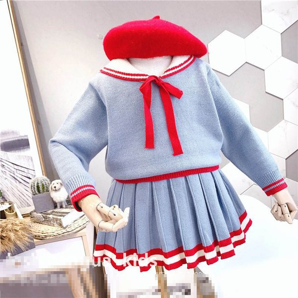 winter girls suits Boutique kids outfits knitted sweater+pleated skirts kids designer clothes girls dress suits A7687