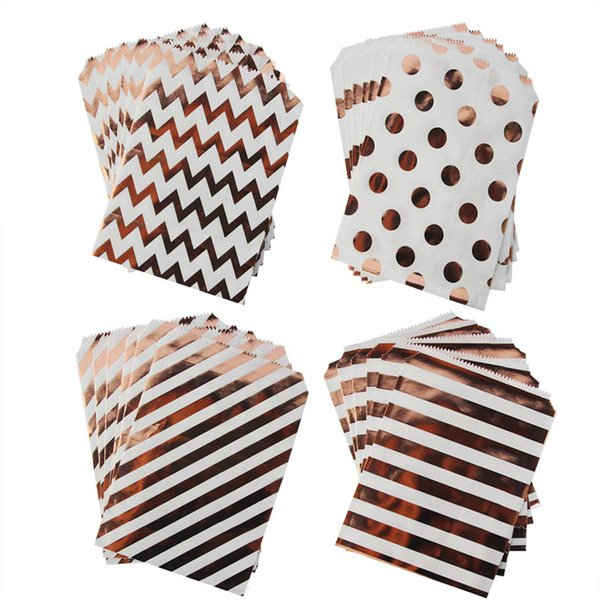 50pcs Rose Gold Paper Gift Bags Polka Dot Star Chevron Stripe Candy Cookie Pack Bags Wedding Birthday Party Treat Favor Bag
