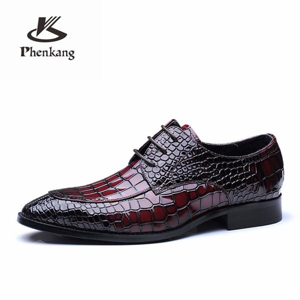 Erkek resmi ayakkabı hakiki deri oxford ayakkabı erkekler için siyah kırmızı elbise düğün bağcıkları deri brogues 2019 bahar # 7966