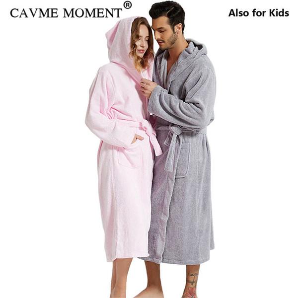 CAVME махровое полотенце с капюшоном халат мужская длинные хлопчатобумажные халаты гостиная семейная ночная рубашка пижамы пижамы для влюбленных плюс размер