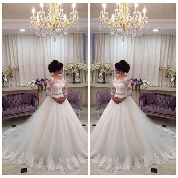 Lace Quarter Sleeves A-Line Wedding Dresses Bridal Gowns Modest 2020 Church Lace Appliques Crystal Sash Bling Bling Vestidos De Mariee