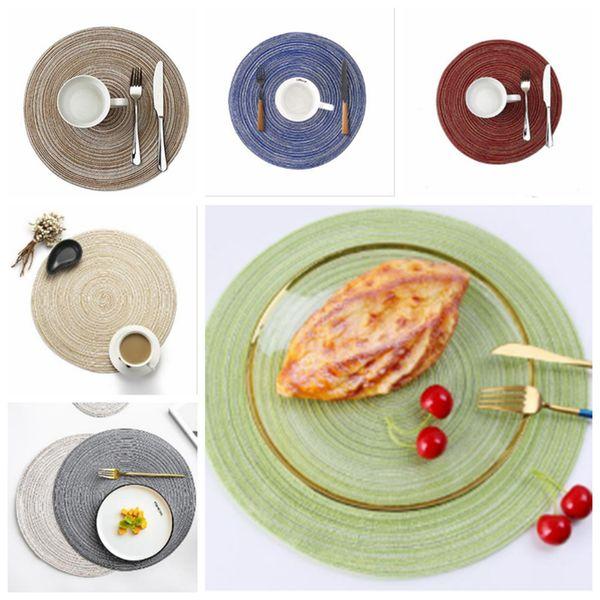 Tapis circulaire à manger Tapis alimentaire occidental Tapis isolant antidérapant HOT Napperon rond tissé pour table de table résistant à la chaleur, essuyant la napperon YSY24