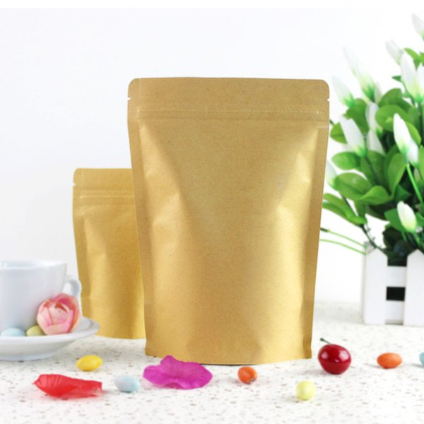 100pcs / Lot Fermuar Kahverengi Kraft aluminleştirmesiyle kese, Food Grade mühür kraft kağıt alüminyum folyo torba Açılıp kapanabilir Zip Kilit Kavrama Ayağa kalk