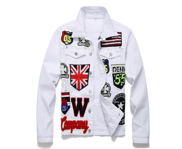 2020 Novo Tipo dos homens Denim Jacket Euro-Americano Street Trade Tendência Marca Solto Jaqueta Tamanho Branco M ~ 3XL