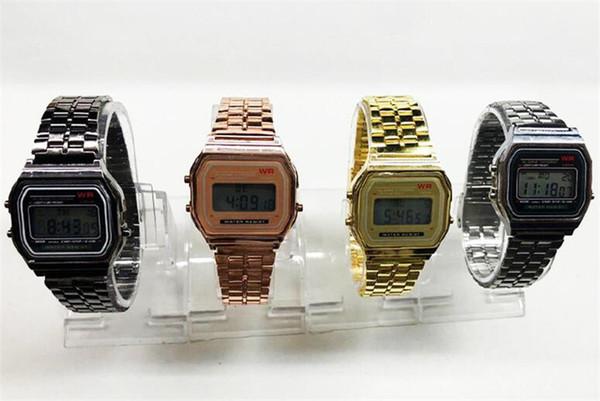 CASEO Erkekler Moda LED Elektronik İzle Çelik İzle A159W Dış Ticaret Metal Kayış WR Moda Gelgit Modelleri Kusursuz Altın Gümüş Yetişkin