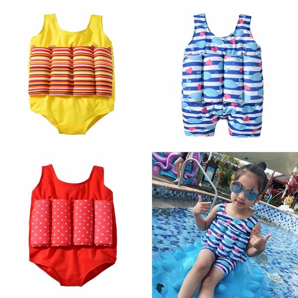 Niños rayas punto imprimir traje de baño traje de baño flotante de dibujos animados ballena Bikini niños una pieza traje de baño con flotabilidad TTA697