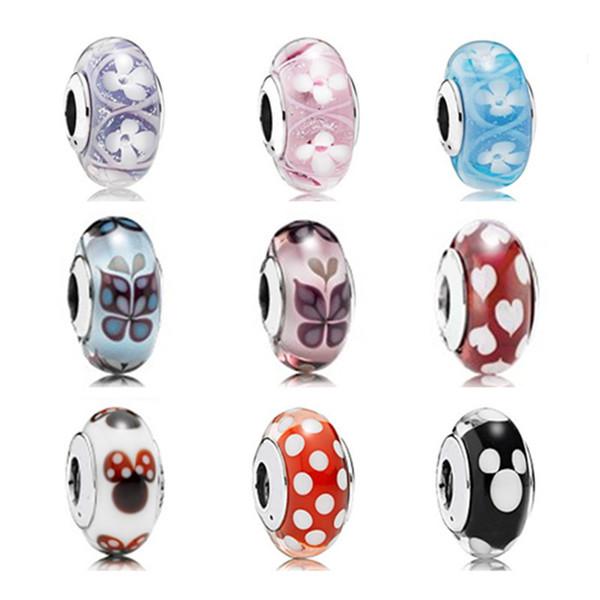 Granos de cristal de Murano Se adapta a las pulseras pandora Auténticas cuentas de plata esterlina 925 para mujeres Diy perlas sueltas originales al por mayor