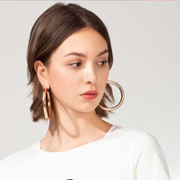 Wholesale men's hoop earrings for sale - Group buy ewelry Accessories MANILAI Classic mm Diameter Wide Copper Big Hoop Earrings Fashion Jewelry Statement Earrings For Women Brincos Pun