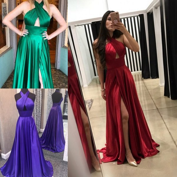 Halter Prom Dress Red Formal Evening Dresses Slit With Cut Out Bodice Special Occasion Dresses Mopping Long Section Empire