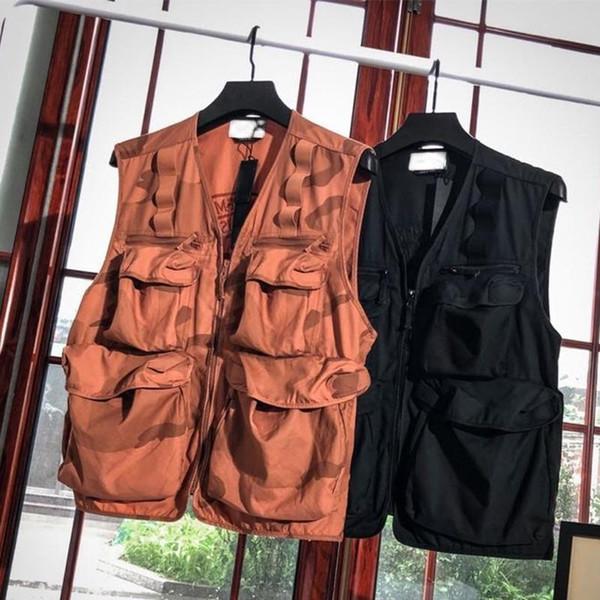 Amerika birleşik Devletleri erkek yelek blazer jas tasarımcı sokak retro seyahat Tank Tops kolsuz çok cep göğüs işlemeli OEM açık yelek batik