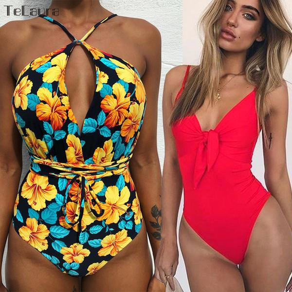 2019 Sexy One Piece Swimsuit Women Swimwear Push Up Monokini Tie Up Swim Suit Bodysuit Bathing Suit Summer Beach Wear Female