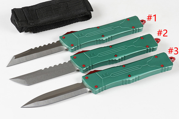 "High Quality A10 Auto Tactical Knife D2 (3.8"" ) Blade T6061 Aviation Aluminum Green Handle Tactical knives With Nylon Bag and Repair Tools"