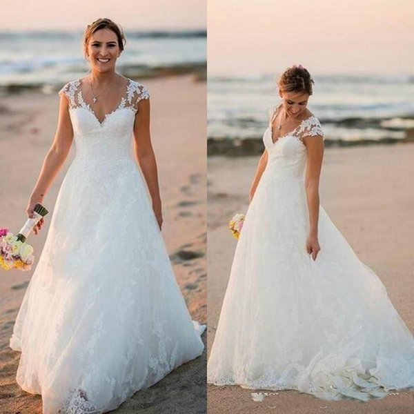 2019 Çarpıcı Ülke Dantel Gelinlik Topu V Yaka Kapaklı Bahar Aplike Artı Boyutu Açık robe de mariée Gelin Kıyafeti Gelin Için özel