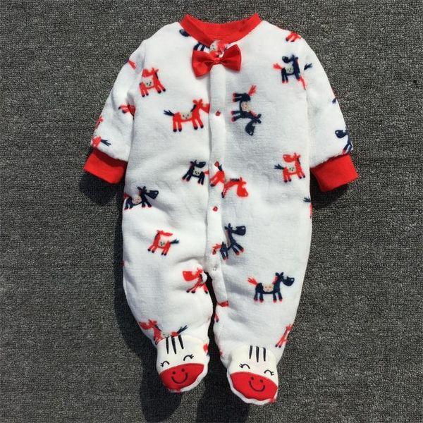 2019 Kids Winter Fleece Rompers One-piece Children Jumpsuits Hoodies Long-sleeved Footies Baby Girls Boys Infant Toddler Clothing
