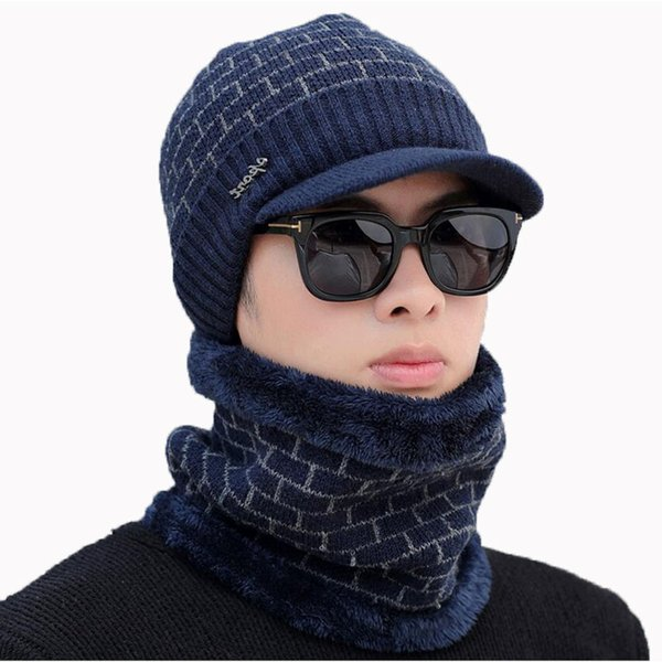 59586cae8b3 Winter Hat And Scarf Set For Women Men Scarves Cap With Brim Knitted Visor  Beanies Balaclava Bonnet Mask Neck Warmer 2 Pcs Sets