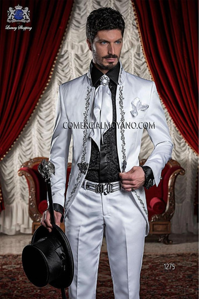 White Ivory Satin Italian Embroidery Men Suits For Wedding Slim Fit Classic Groom Tuxedos Formal Party Prom Blazer Long Jacket
