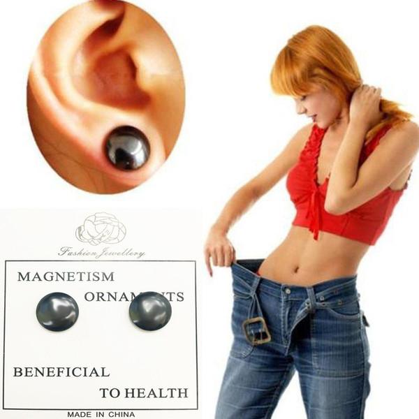 Schwarzer Magnet Ohrringe Meridiane Ohrringe Kein Halt Ohr Ring durchbohrt Ohrring Magnetic Abnehmen Gesundheit Schmuck Drop Shipping