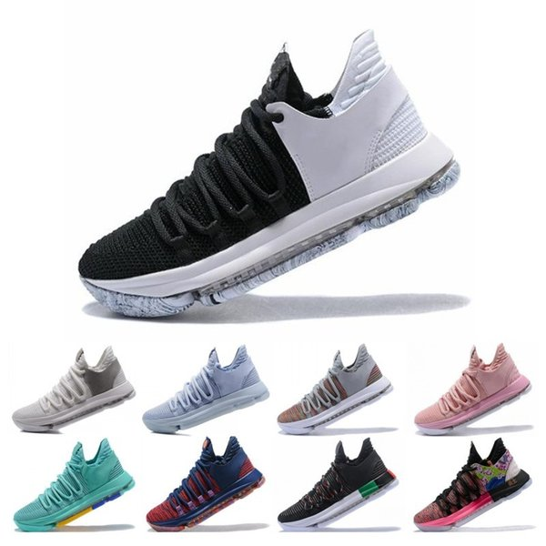 Hot Sale KD 10 Kevin Durant Men Basketball Shoes Oreo BHM White black Numbers Anniversary Stucco Igloo Multi Color 10 X Sports Sneaker