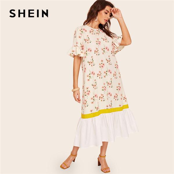 de17f5572e SHEIN Ruffle Cuff And Hem Botanical Floral Print Dress Women White Half  Flounce Sleeve Dress Boho