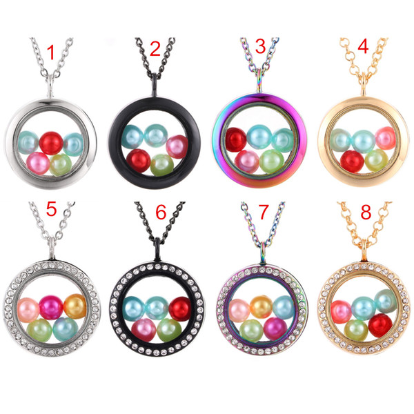 Multicolor Round More Style 8mm Beads Living Memoria Magnetic Floating Crystal Locket Pendant Necklace Charms Cage Pearl