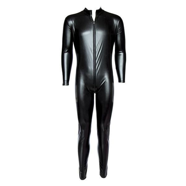 Men's Underwear Faux Leather Long Sleeve Full Body Stocking Tight Pole Dance Bar Bodysuit Sex Lingerie Fetish Costume