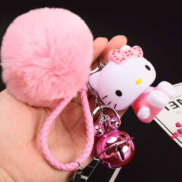 key chain for women men cute KT Cat cartoon car key chain hairball pendant small gift wholesale Key Chain Ring Gifts for Girl Party
