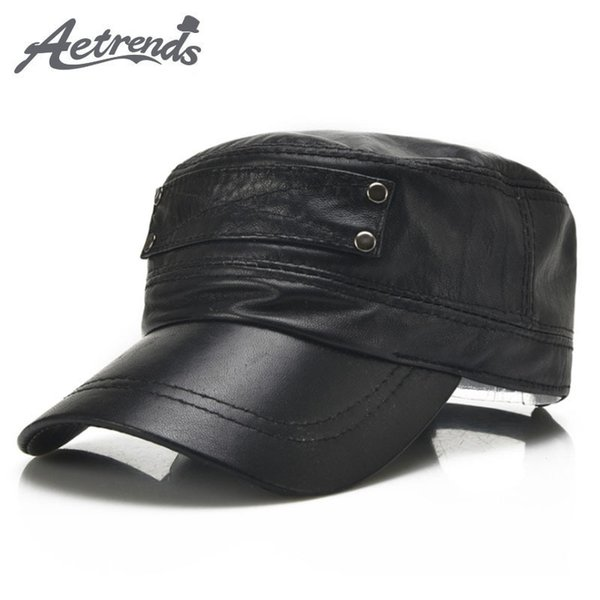 [aetrends] Black Sheepskin Genuine Leather Baseball Cap Men Branded Flat Caps Dad Hat Outdoor Leather Hats Gorras Planas Z-5296 Y19070503
