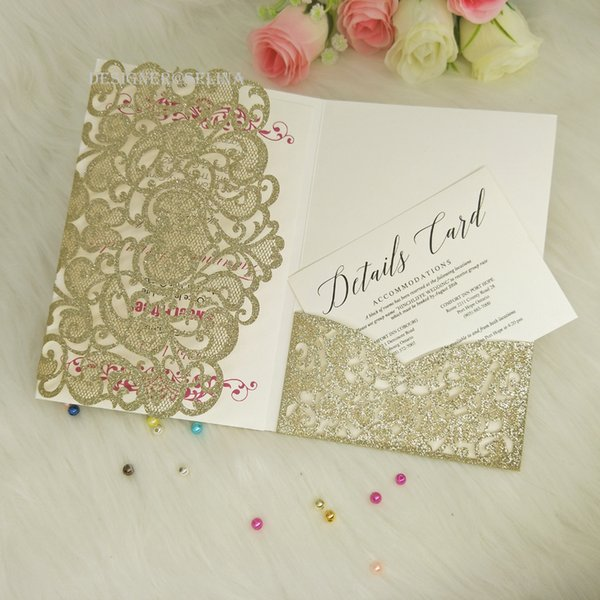 Champagne Sweetheart Glitter Laser Cut Tri Fold Pocket Wedding
