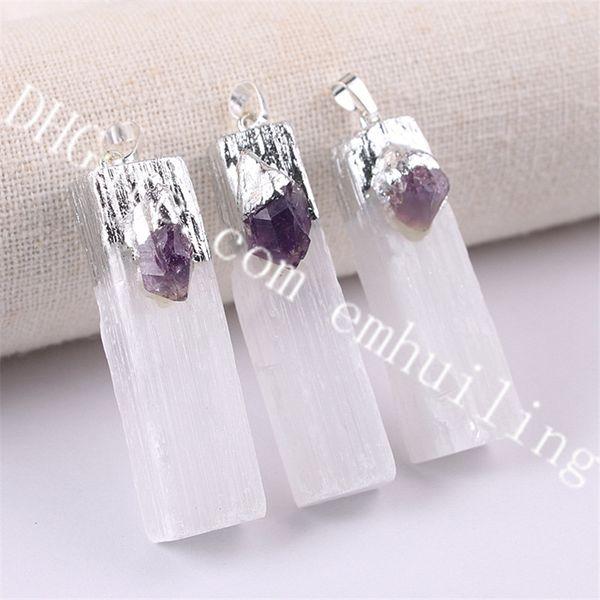 silver white selenite w/amethyst