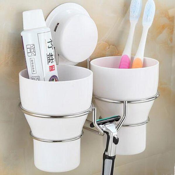 Yüksek Kalite Paslanmaz Çelik Duvar Diş Fırçası Tutucu Set + 2 Yıkama Diş Fırçası Kupa Saklama Fincan Dekoratif Banyo Aksesuarları. Y19061804
