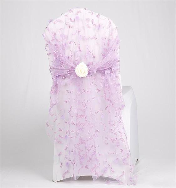 Bordado Hilo Taburete Nudo posterior Perforación adicional Sillas de silla de Bowknot Fuerza de hilado Flores artificiales blancas Fundas de asiento Cinta