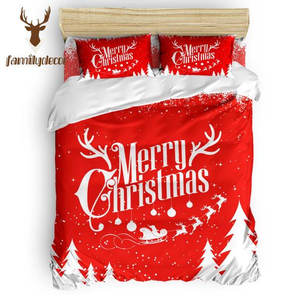 Decorazioni per la famiglia Merry Christams Set di biancheria da letto Eletto Set copripiumini 4 Pz Set di lenzuola Trapuntato Set copripiumino California