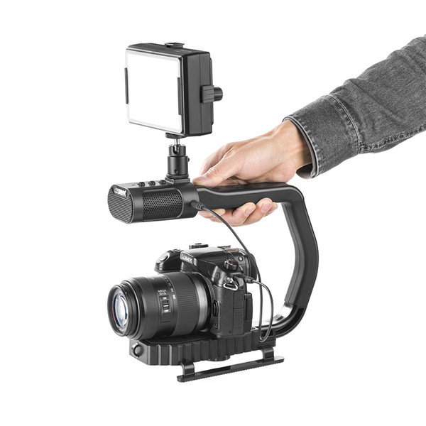 Freeshipping Microphone DSLR rig handheld camera stabilizer steadicam smartphone video steadycam LED light for Nikon Canon Iphone