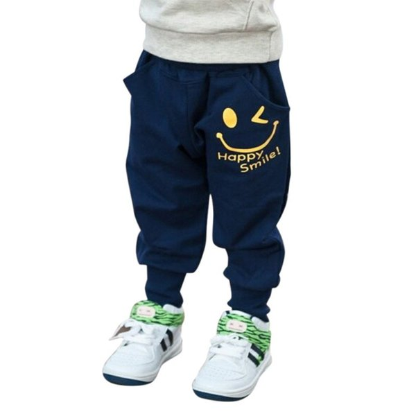 Autumn Fashion Sweatpant Smiling Printed Boys Pants Casual Trousers Boys Baby