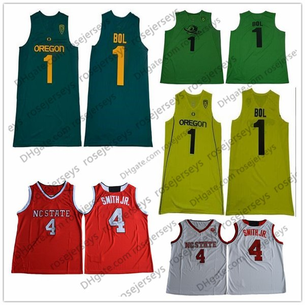 NCAA Oregon Ducks #1 Bol Bol Apple Dark Green Yellow Jersey NC State Wolfpack #4 Smith Jr. Red White Dennis College Basketball Jerseys