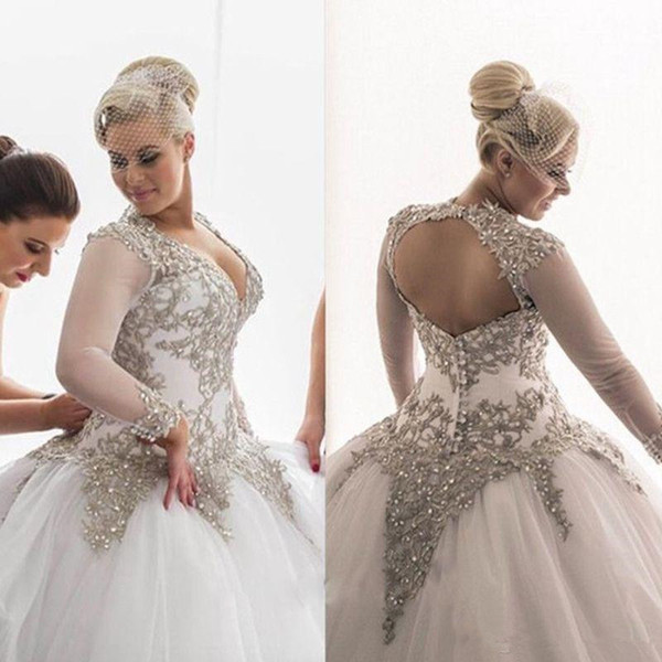 Luxurious Crystal Beaded Ball Gown Wedding Dresses 2019 Custom Made V Neck Sheer Long Sleeve Floor Length Bridal Gowns Plus Size bride Dress