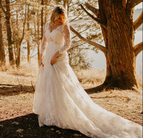 2018 New Lace long sleeves Wedding Dresses beading waist Plus Size Applique V Neck Court Train Wedding Dress Bridal Gowns vestido de novia