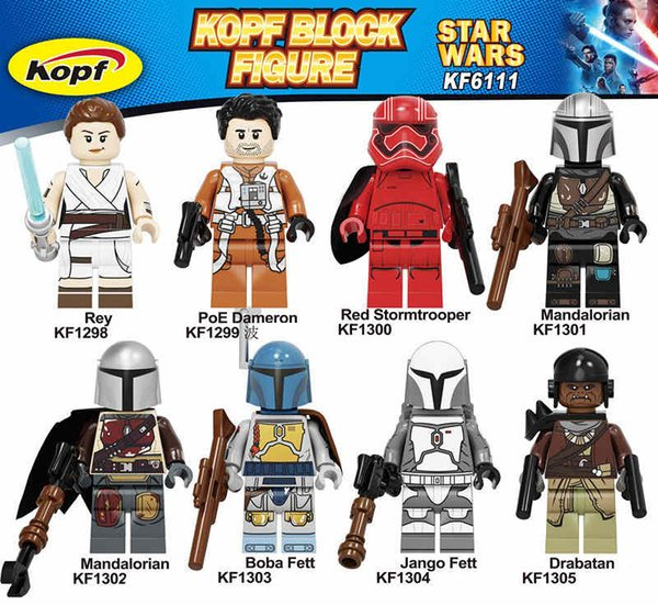 Des blocs de construction Briques Wars Darth Vader Yoda Rey PoE Dameron Mandalorien Jango Fett Drabatan chiffres pour les jouets pour enfants