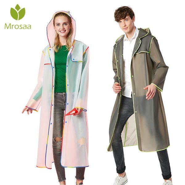 Fashion Women men EVA Transparent Raincoat Portable Outdoor Travel Rainwear Waterproof Camping Hooded Ponchos Plastic Rain Cover #179562