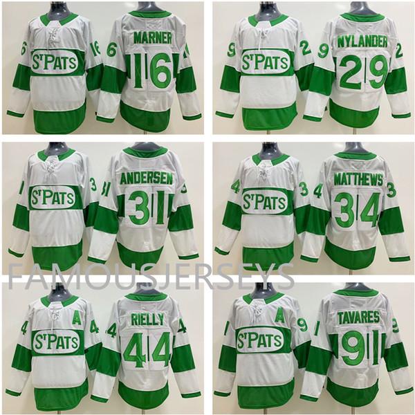 Toronto Maple Leafs Hockey Trikots STPATS grün # 16 Mitchell Marner 29 William Nylander 34 Auston Matthews 44 Morgan Rielly 91 John Tavares