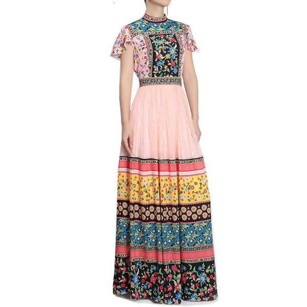 2019 Yaz Kadın Pist Tasarımcısı Retro Çiçek Baskı Uzun Elbiseler Femme Robe Kelebek Kollu Dantel Patchwork Maxi Elbise Vestidos