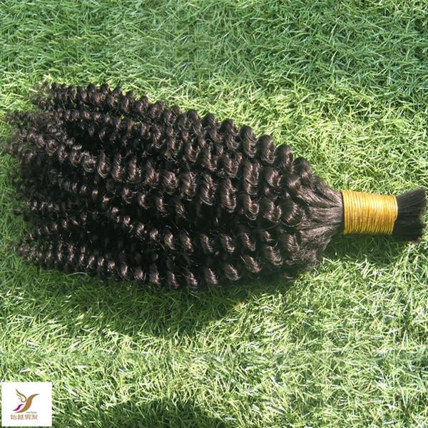 Pure Color Negro 100% del pelo humano a granel para el trenzado 1 PC / porción bruto a granel de Malasia rizado rizado del pelo Trenzas 10-30 Inchs la trama del pelo